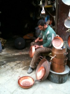 Copper pot making - noisy but pretty