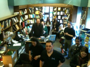 People gathering for the Montreal reading of Revontuli