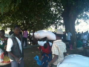 Carrying a 40kg bag of maize